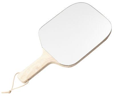 Interni - Specchi - Specchio Pong / Piano - Reversibile - L 46 cm - ENOstudio - Legno naturale - Faggio massello, Sughero, Vetro