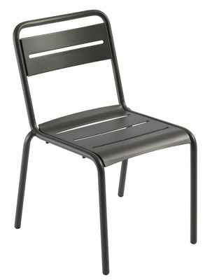 Möbel - Stühle  - Star Stapelbarer Stuhl / Metall - Emu - Dunkles Eisen (matt) - Galvanisiertes Blech, gefirnister Stahl