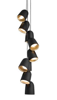Luminaire - Suspensions - Suspension Chains Multiple / 9 abat-jours + 3 câbles - H 165 cm - Petite Friture - Noir - PVC