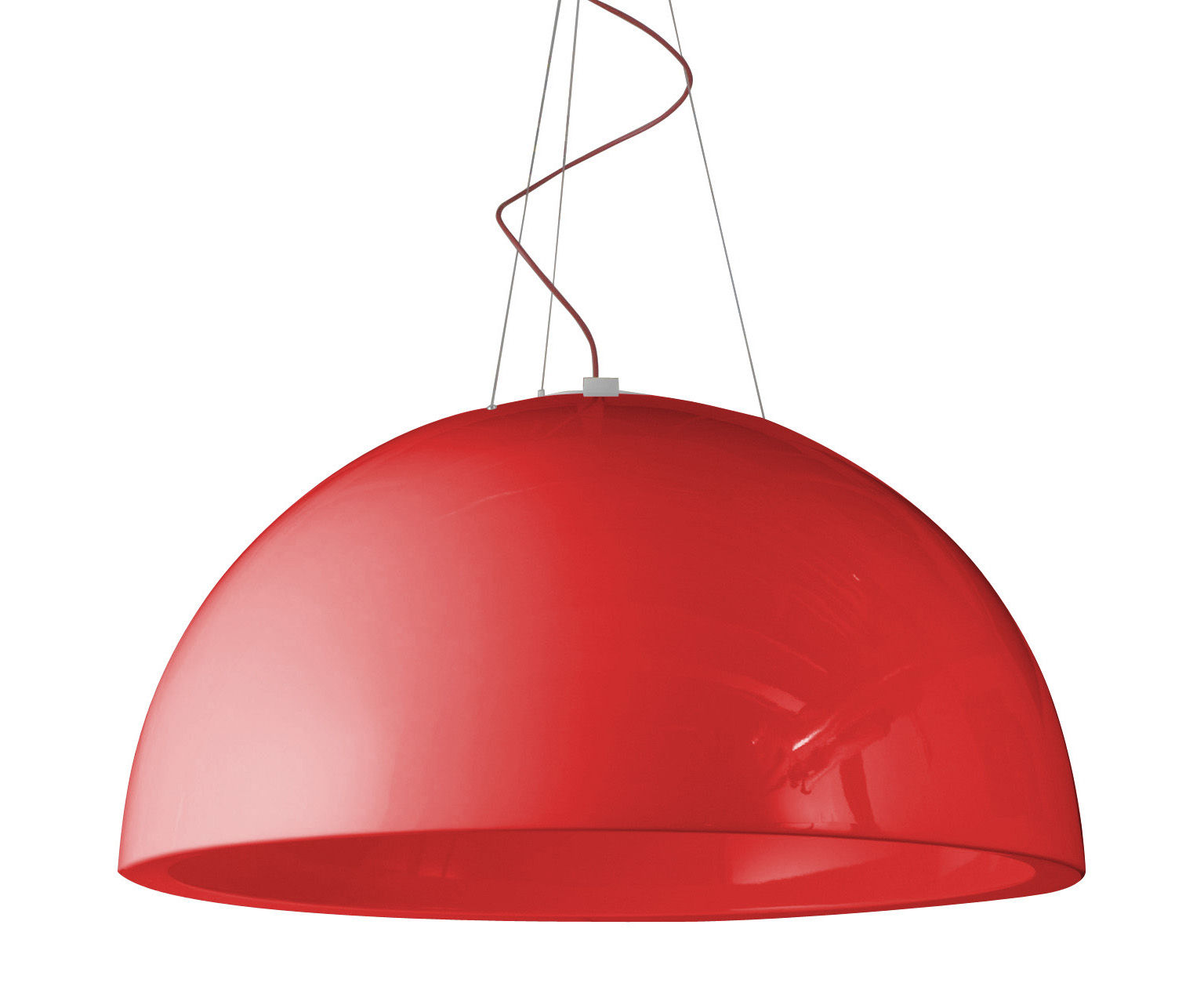 Luminaire - Suspensions - Suspension Cupole version laquée - Ø 120 cm - LED - Slide - Laqué rouge - polyéthène recyclable