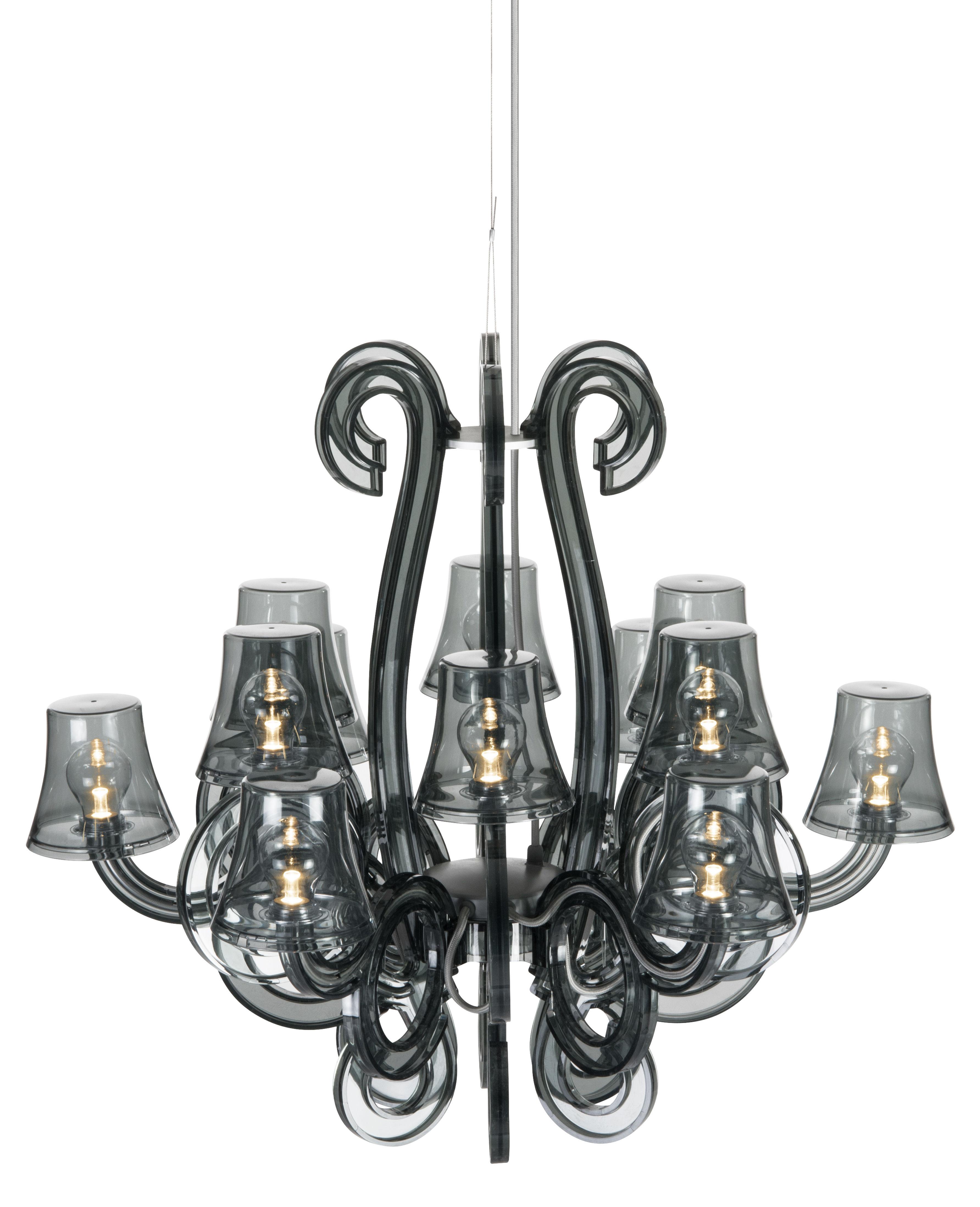 Luminaire - Suspensions - Suspension RockCoco 12.0 INDOOR / Ø 78 cm - LED fournies - Fatboy - Gris foncé / Câble gris - Polycarbonate