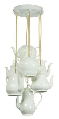 Luminaire - Suspensions - Suspension Teapot / 7 theières en porcelaine - Original BTC - Blanc - Porcelaine vernie