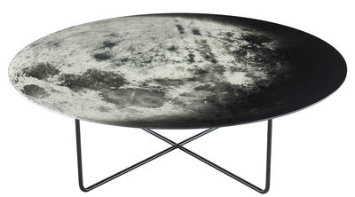Mobilier - Tables basses - Table basse My moon / Ø 100 cm - Diesel with Moroso - Noir, Blanc, Gris - Acier verni, Verre trempé