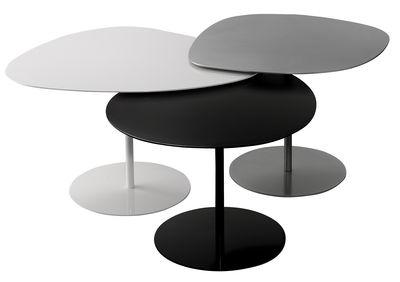 Tables gigognes 3 Galets Outdoor / Set de 3 - Matière Grise blanc,noir,gris alu en métal
