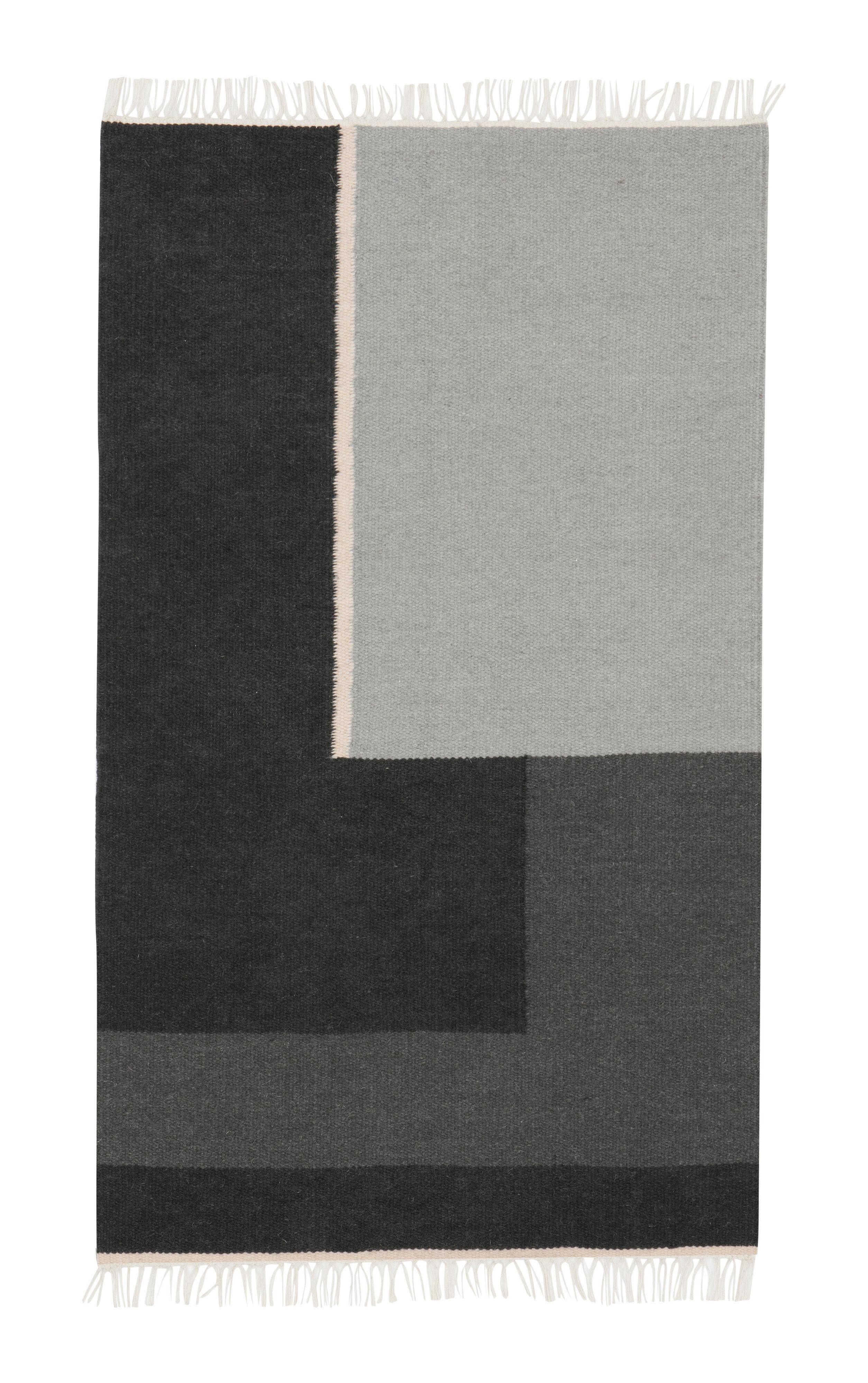 Interni - Tappeti - Tappeto Kelim Section / Piccolo - 140 x 80 cm - Ferm Living - Piccolo - Nero & Bianco - Cotone, Lana