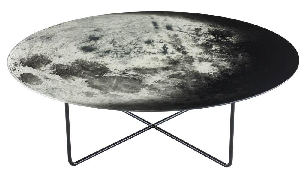 Arredamento - Tavolini  - Tavolino My moon - / Ø 100 cm di Diesel with Moroso - Nero, bianco, grigio - Acciaio verniciato, Vetro temprato