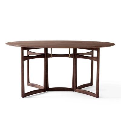 Arredamento - Tavoli - Tavolo ovale Drop Leaf HM6 (1956) - / Pieghevole - 163 x 142 cm di &tradition - Noce - Noce massello, Ottone