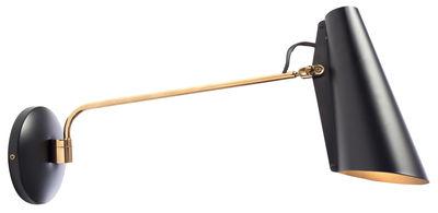 Leuchten - Wandleuchten - Birdy Wandleuchte mit Stromkabel / L 53 cm - Neuauflage des Originals von 1952 - Northern  - Schwarz / Arm Messing - bemaltes Aluminium, Stahl mit Messingoberfläche