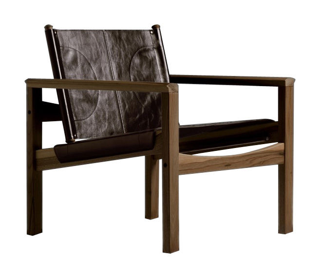 Furniture - Armchairs - Peglev Armchair - Armchair by Objekto - Varnished walnut structure / Macassar leather seat - Leather, Walnut