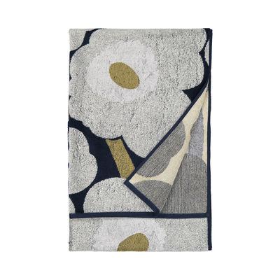 Accessories - Bathroom Accessories - Unikko Bath towel - / 70 x 150 cm by Marimekko - Unikko / Navy blue, light grey - Cotton