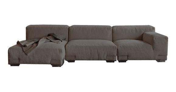 Mobilier - Canapés - Canapé droit Plastics Duo / composition 4 - L 290 cm - Kartell - Gris - Polycarbonate, Tissu