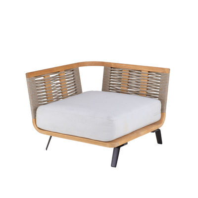 Canapé modulable Welcome / Module accoudoir Droite L 90 cm / Teck & corde - Unopiu blanc/bois naturel en tissu/bois