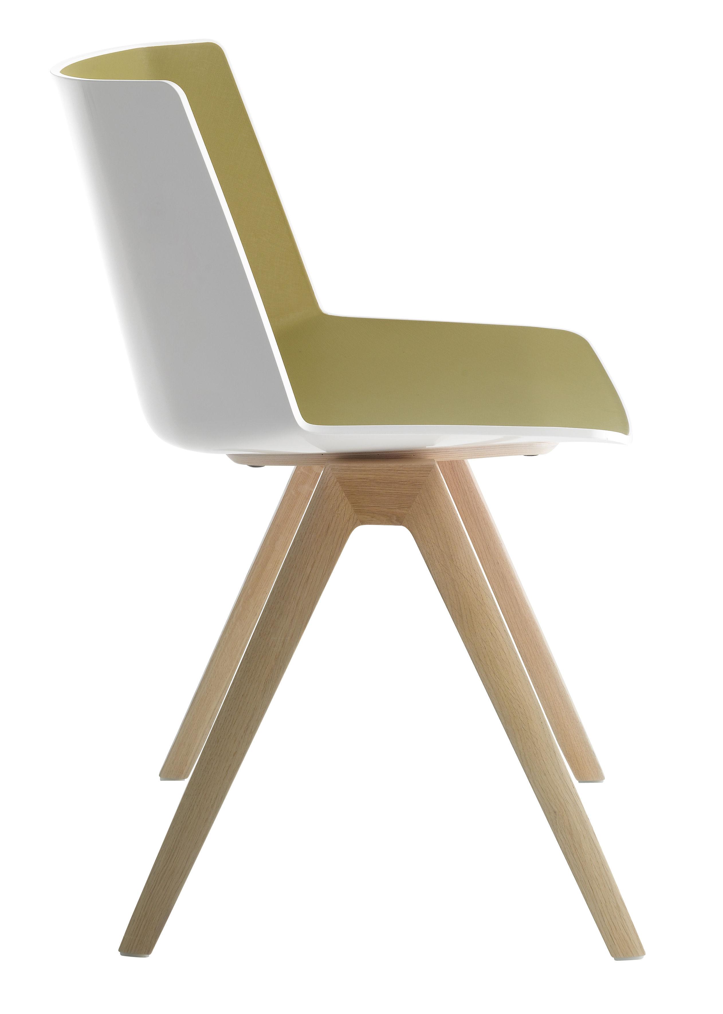 Mobilier - Chaises, fauteuils de salle à manger - Chaise Aïku / Pieds chêne - MDF Italia - Blanc & intérieur vert olive / Pieds chêne - Chêne massif, Polypropylène