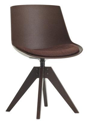 Chaise pivotante Flow ECO / Coussin assise - 4 pieds VN chêne - MDF Italia marron,chêne foncé,marron rouille en tissu