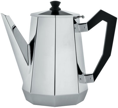 Tableware - Tea & Coffee Accessories - Memories from the future - Ottagonale Coffee pot by Alessi - Polished steel - Black - Polished steel