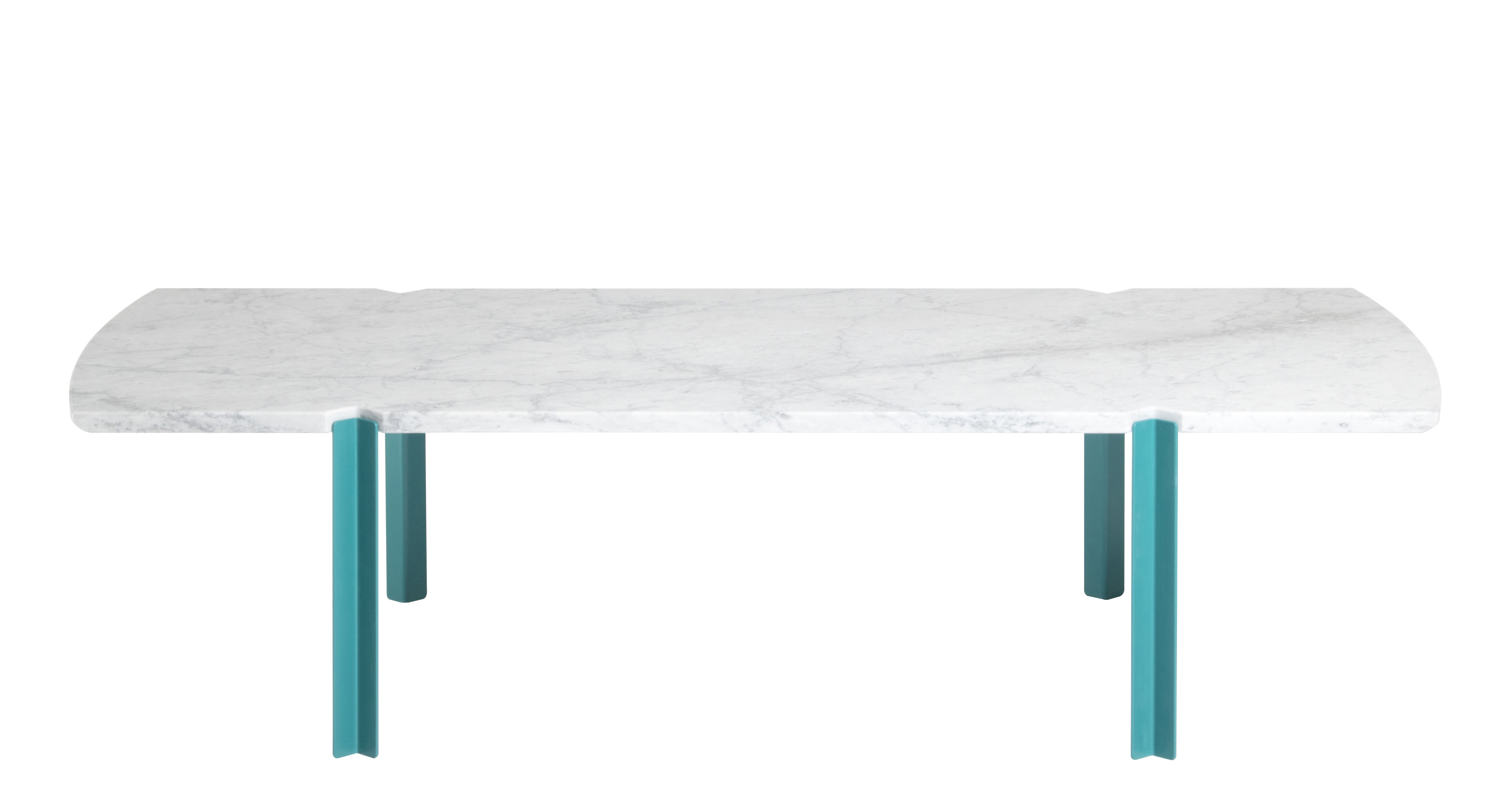 Furniture - Coffee Tables - Quattro Cantoni Coffee table - / Marble & steel - 130 x 60 cm by Objekto - Blue legs / Matt marble - Epoxy lacquered recycled steel, Matt brushed Carrara marble