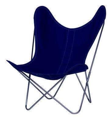 Chaise AA Butterfly INDOOR / Coton - Structure chromée - AA-New Design bleu en tissu