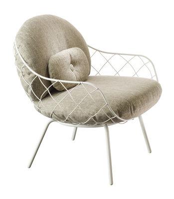 Möbel - Lounge Sessel - Pina Outdoor Gepolsterter Sessel / mit Stoffbezug - Magis - Gestell weiß / Kissen grau - Expandiertes Polyurethanmousse, gefirnister Stahl, Gewebe