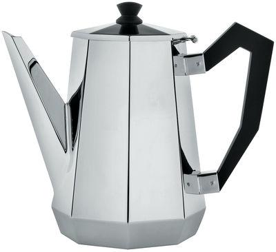 Tischkultur - Tee und Kaffee - Memories from the future - Ottagonale Kaffeekännchen - Alessi - Stahl glänzend - schwarz - polierter Stahl