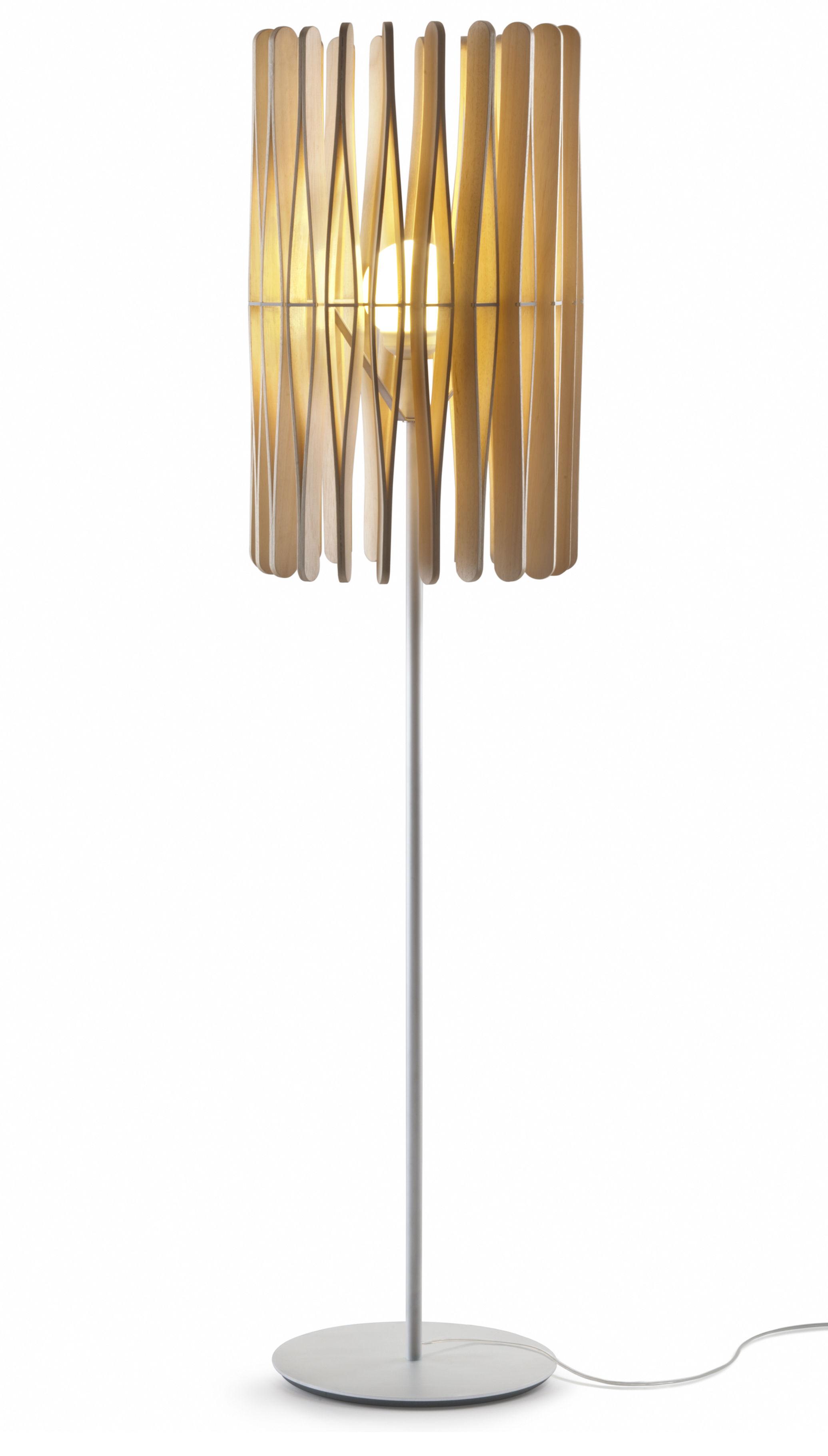 Illuminazione - Lampade da terra - Lampada a stelo Stick 01 - / Paralume Ø 43 x H 65 cm di Fabbian - Legno chiaro / modello 1 - Legno di Ayous, metallo verniciato