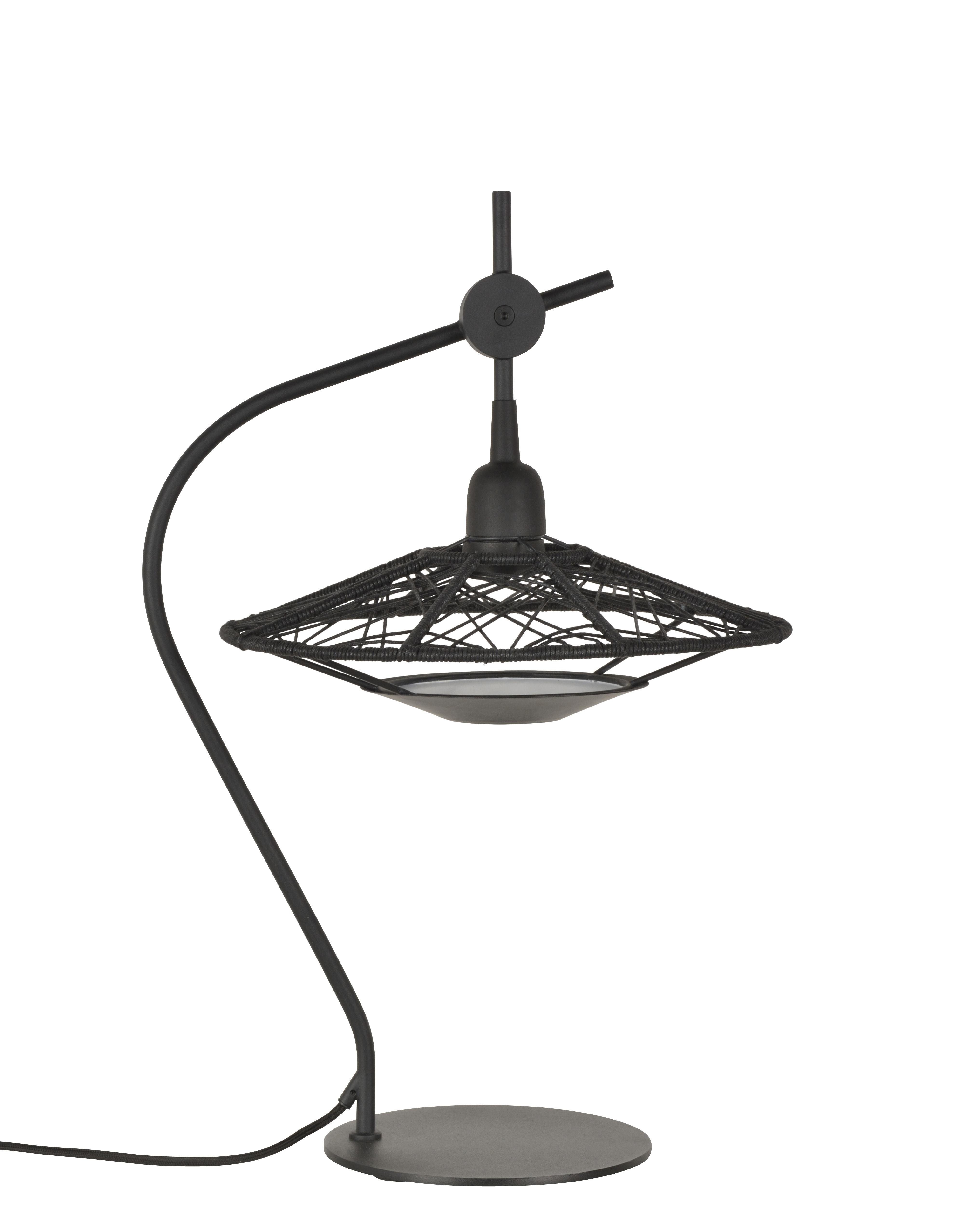 Illuminazione - Lampade da tavolo - Lampada da tavolo Carpa - / Fili di cotone - H 58 cm di Forestier - Nero - Acciaio laccato, Fili in cotone