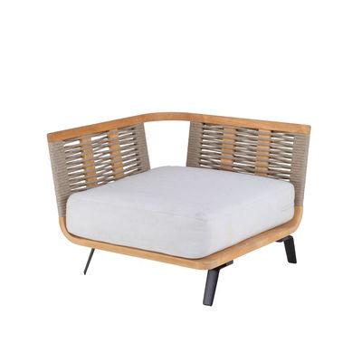 Outdoor - Sofas - Welcome Modular sofa - / Right armrest module L 90 cm / Teak & rope by Unopiu - Teak & rope - Acrylic fabric, Aluminium, Foam, Polyolefin synthetic fibre, Teak