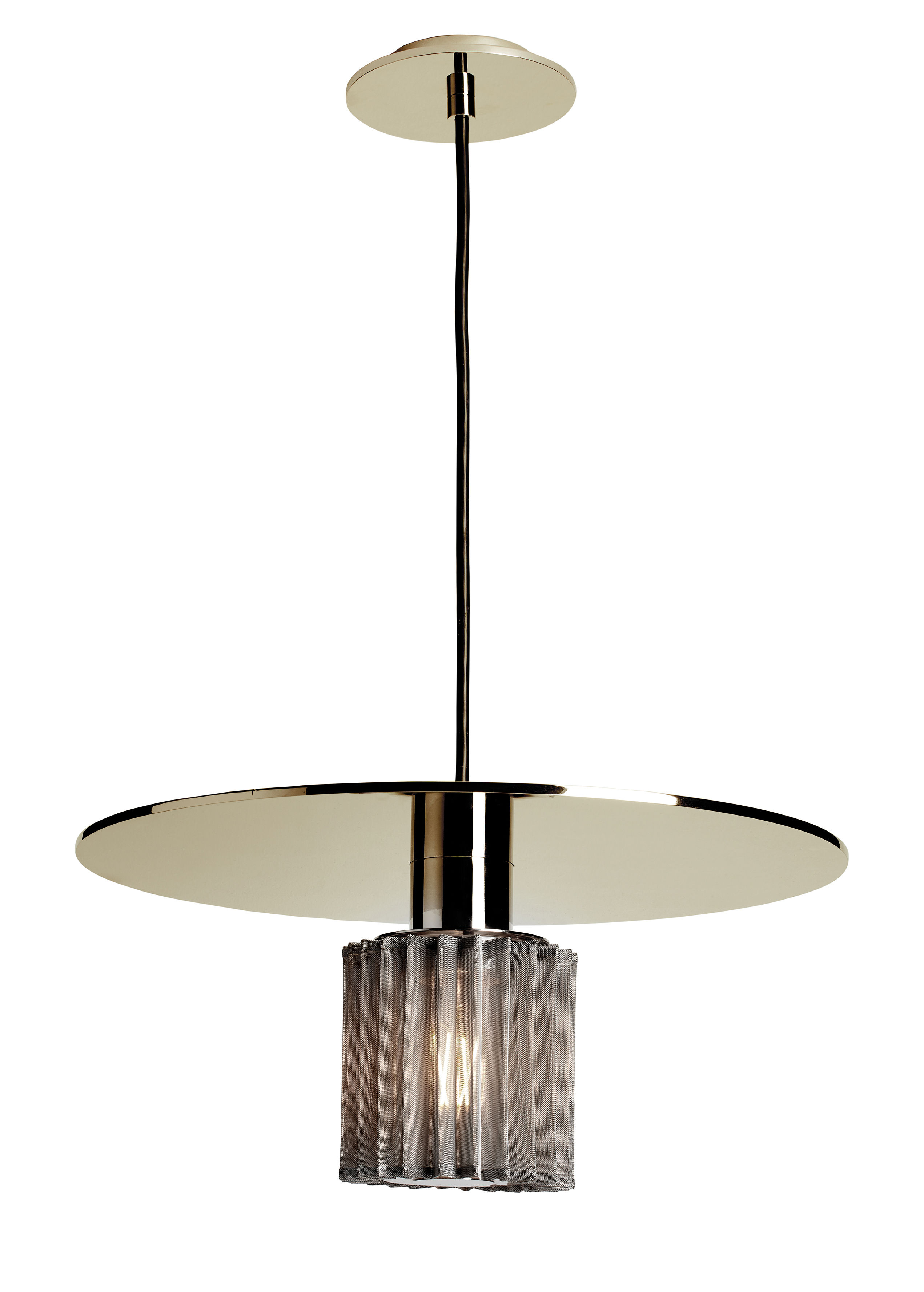 Lighting - Pendant Lighting - In the sun Large Pendant - / Ø 38 cm by DCW éditions - Gold / Silver mesh - Aluminium, Glass, Steel