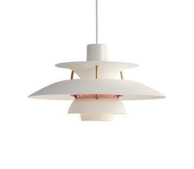 Lighting - Pendant Lighting - PH5Mini Pendant - / Ø 30 cm by Louis Poulsen - White / Bronze rods - Aluminium