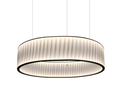 Lighting - Pendant Lighting - Ronde Pendant - / Double flux LED - Ø 80 cm by Dix Heures Dix - White - Fabric, Stainless steel
