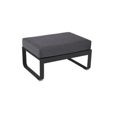 Mobilier - Tables basses - Pouf Bellevie / Table basse (coussin amovible) - Gris graphite / 74 x 53 cm - Fermob - Carbone / Tissu gris graphite - Aluminium, Mousse, Tissu Outdoor Sunbrella