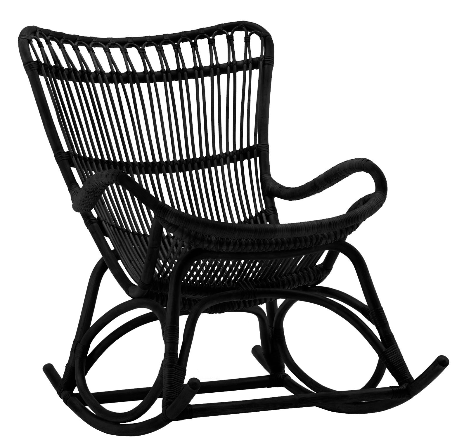 Furniture - Armchairs - Monet Rocking chair by Sika Design - Black - Rattan