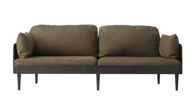 Septembre Sofa / Nubuk-Leder - 3-Sitzer - L 198 cm - Menu - Schwarz,Kastanienbraun
