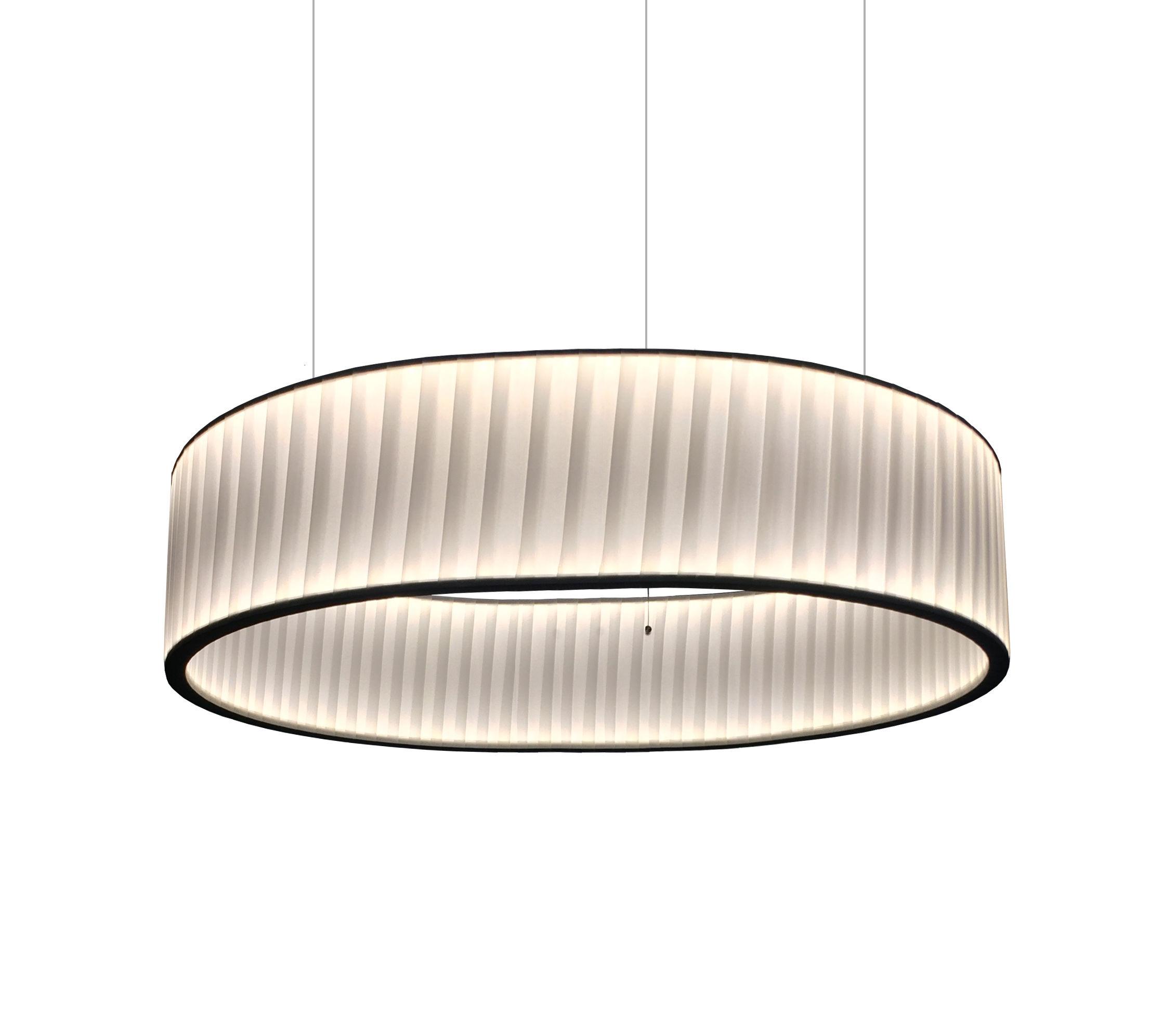 Illuminazione - Lampadari - Sospensione Ronde - / LED doppio flusso - Ø 80 cm di Dix Heures Dix - Bianco - Inox, Tessuto