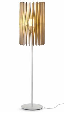 Leuchten - Stehleuchten - Stick 01 Stehleuchte / Lampenschirm Ø 43 x H 65 cm - Fabbian - Holz, hell / Modell 1 - Ayous-Holz, lackiertes Metall