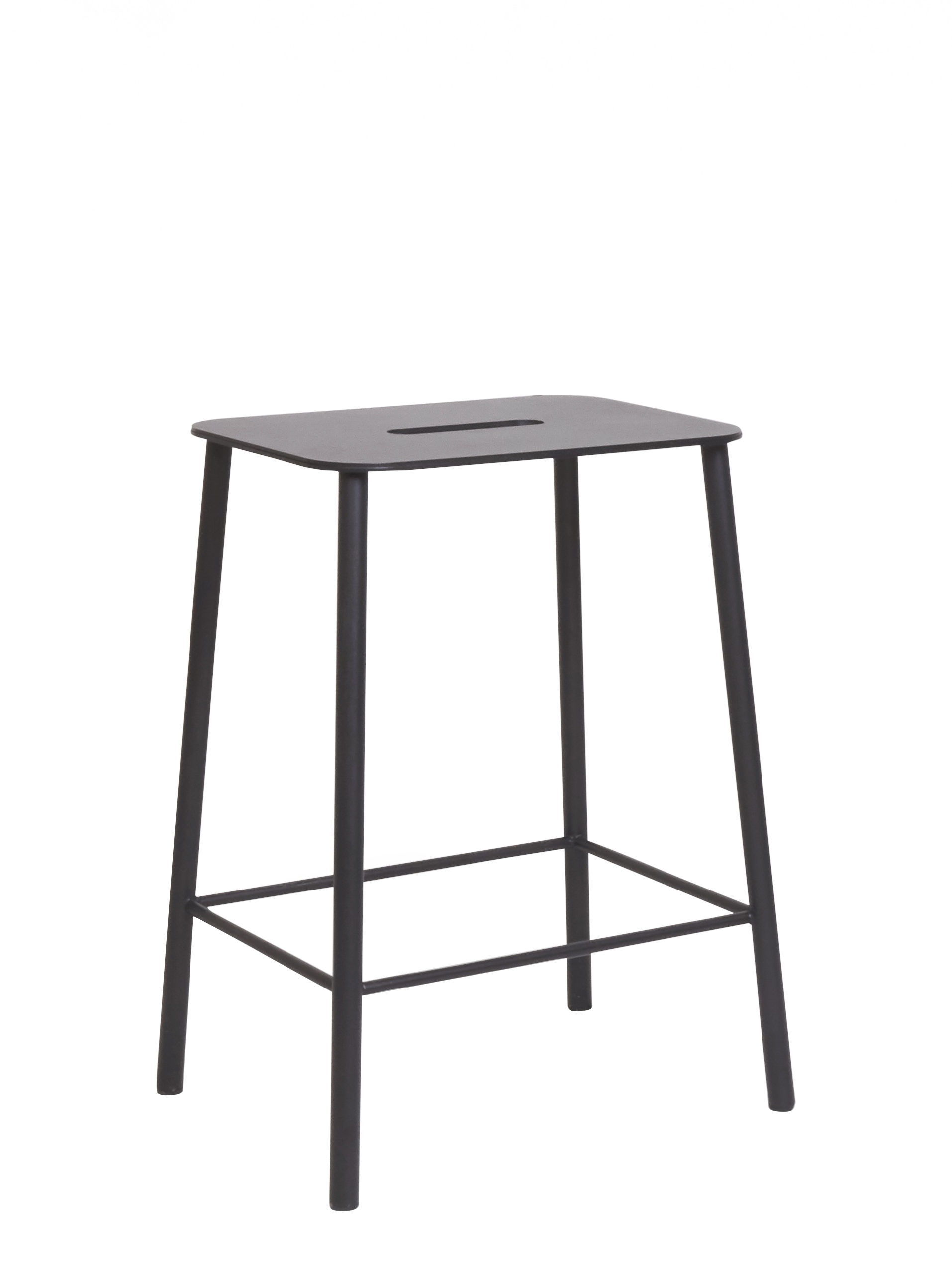 Furniture - Stools - Adam Outdoor Stool - / H 50 cm by Frama  - Black - Epoxy lacquered steel