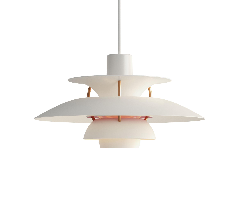 Luminaire - Suspensions - Suspension PH5Mini / Ø 30 cm - Louis Poulsen - Blanc / Tiges bronze - Aluminium