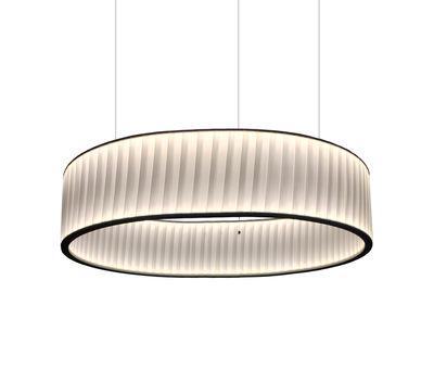 Suspension Ronde / LED double flux - Ø 80 cm - Dix Heures Dix blanc en métal/tissu