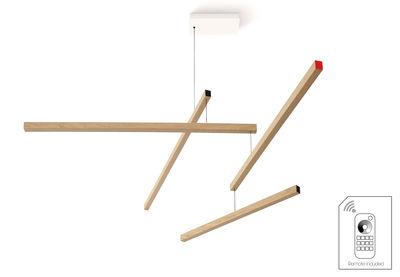 Suspension Tasso Clown Dimmable LED / Chêne - L 155 cm - Presse citron rouge,noir,chêne clair en bois