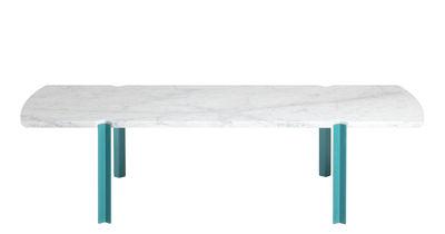 Arredamento - Tavolini  - Tavolino Quattro Cantoni - / Marmo & acciaio - 130 x 60 cm di Objekto - Piedi blu / Marmo opaco - Acciaio laccato con verniciatura epossidica riciclato, Marmo di Carrara spazzolato opaco