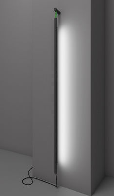 Lighting - Wall Lights - Colibri LED Wall light with plug - H 139 cm by Martinelli Luce - Black / Green stripe - Painted aluminium