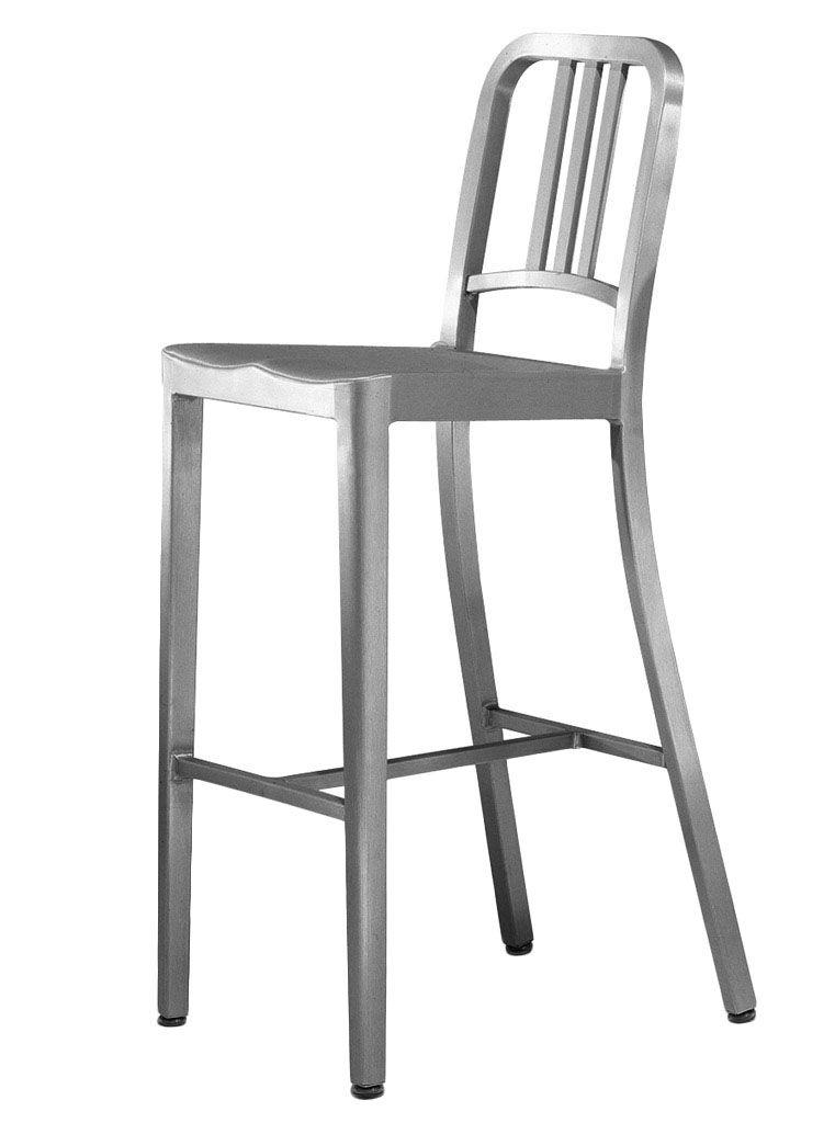 Furniture - Bar Stools - Navy Outdoor Bar chair - H 76 cm by Emeco - Brushed aluminium - Aluminium brossé recyclé