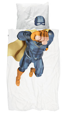 Decoration - Children's Home Accessories - Super Hero Garçon Bedlinen set for 1 person - / 140 x 200 cm by Snurk - Superhero / Blue - Cotton