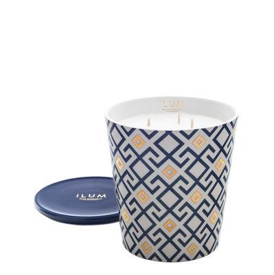 Bougie parfumée Ilum / Arabesque de figues - Ø 11 x H 13 cm - Max Benjamin bleu,or en verre