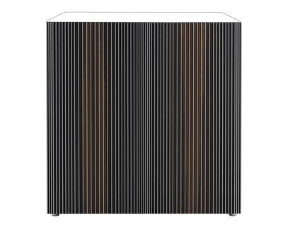 Mobilier - Commodes, buffets & armoires - Buffet Carlos / 2 portes - L 96 x H 98 cm - Horm - Blanc / Portes multicolores - Chêne thermotraité, Lamifié, Mélamine