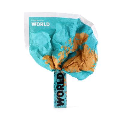 Déco - Pour les enfants - Carte du monde à personnaliser Crumpled World by Cities / Noms de villes - Feutre effaçable inclus - 87 x 58 cm - Palomar - Villes / Bleu & jaune - Papier étanche