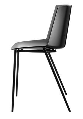 Mobilier - Chaises, fauteuils de salle à manger - Chaise empilable Aïku / Pieds métal carrés - MDF Italia - Noir & intérieur gris foncé / Pieds gris graphite - Acier peint, Polypropylène