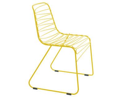 Mobilier - Chaises, fauteuils de salle à manger - Chaise empilable Flux / Métal - Magis - Jaune - Acier verni