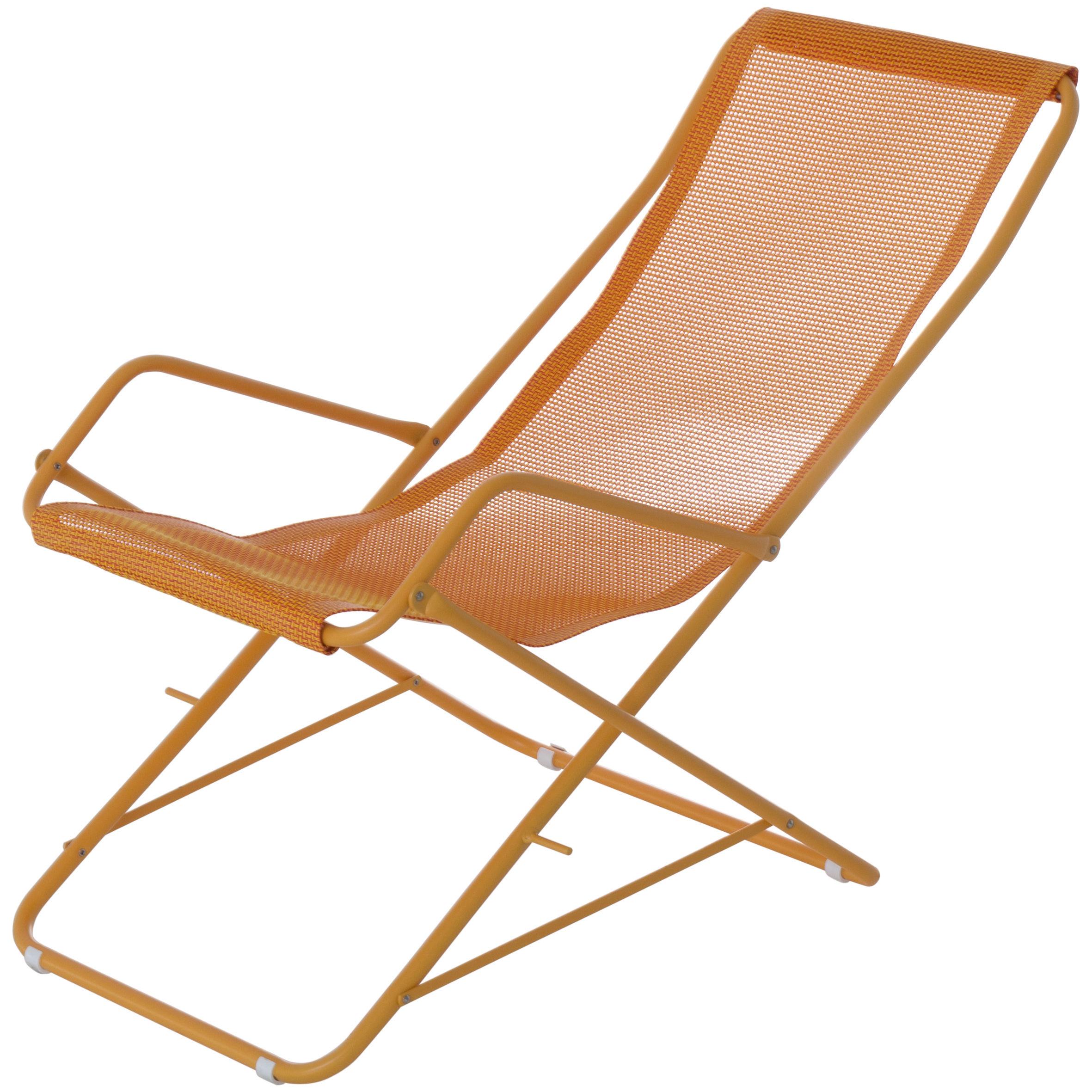 Outdoor - Sedie e Amache - Chaise longue Bahama - / Pieghevole di Emu - Tela arancione / Struttura senape - Acciaio verniciato, Tela