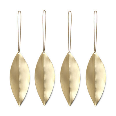 Decoration - Home Accessories - Leaf Christmas decoration - / Brass - Set of 4 by Ferm Living - Brass - Solid brass