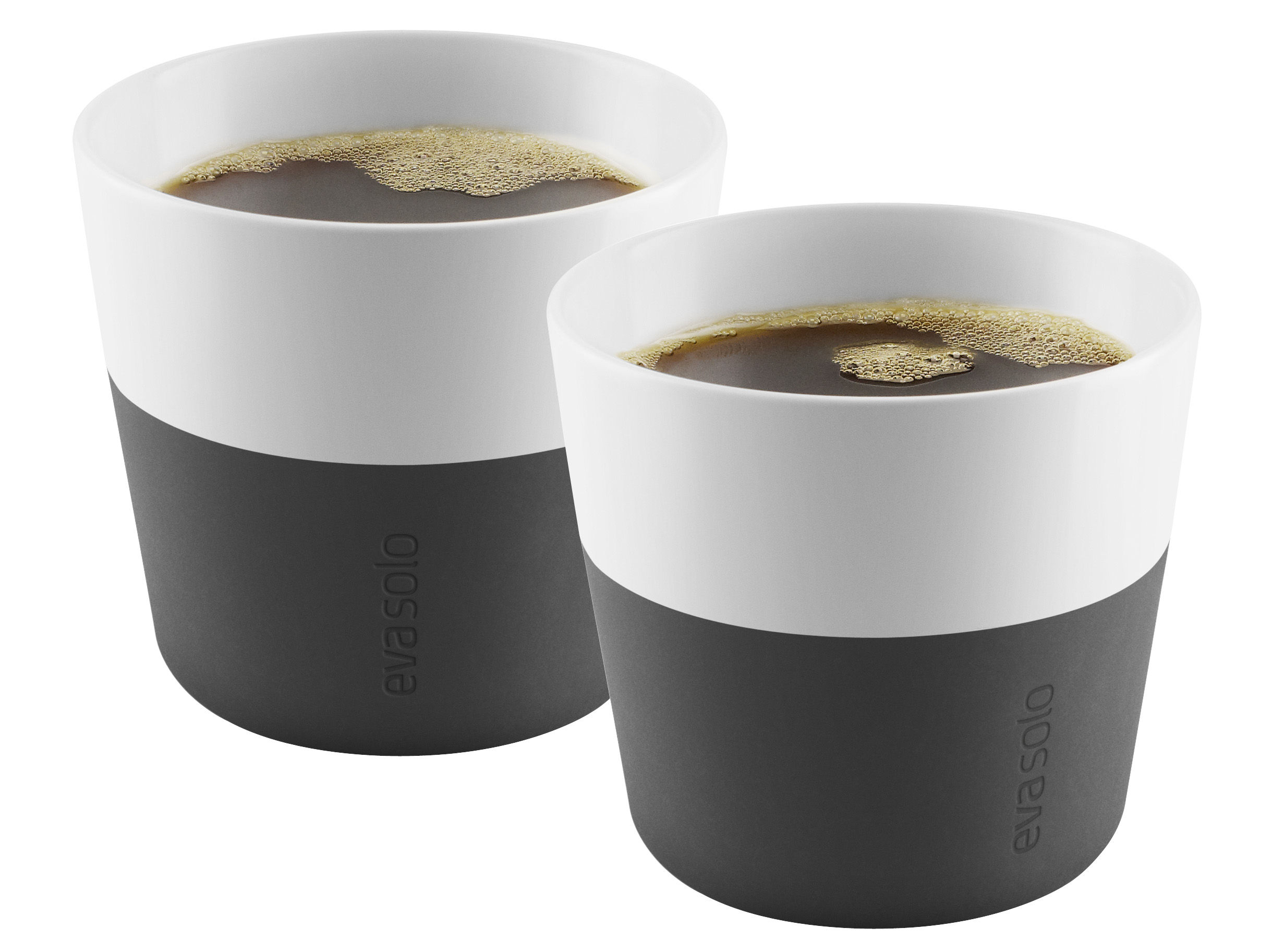 Tableware - Coffee Mugs & Tea Cups - Lungo Cup - Set of 2 - 230 ml by Eva Solo - White / Carbon black silicone - China, Silicone